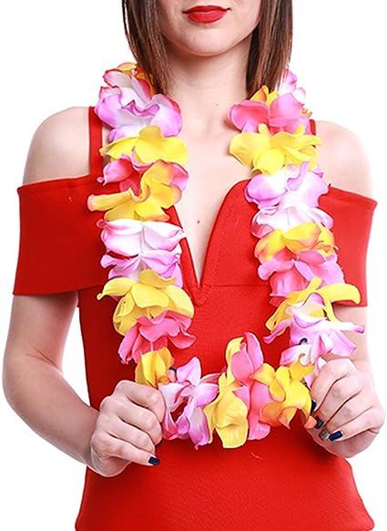 24 Hawaii Hawaiian Flower Necklace Ruffled Simulated Silk Hula Beach Party Leis