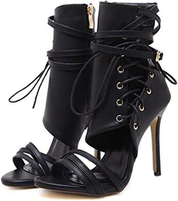 Ladies Womens High Heel Cut Out Lace Up Gladiator Party Heart Fashion Shoes Size