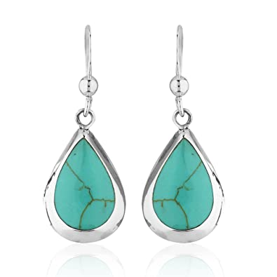 feccbd3628aa3 925 Sterling Silver Reconstructed Turquoise Gemstone Pear Tear Drop Dangle  Earrings
