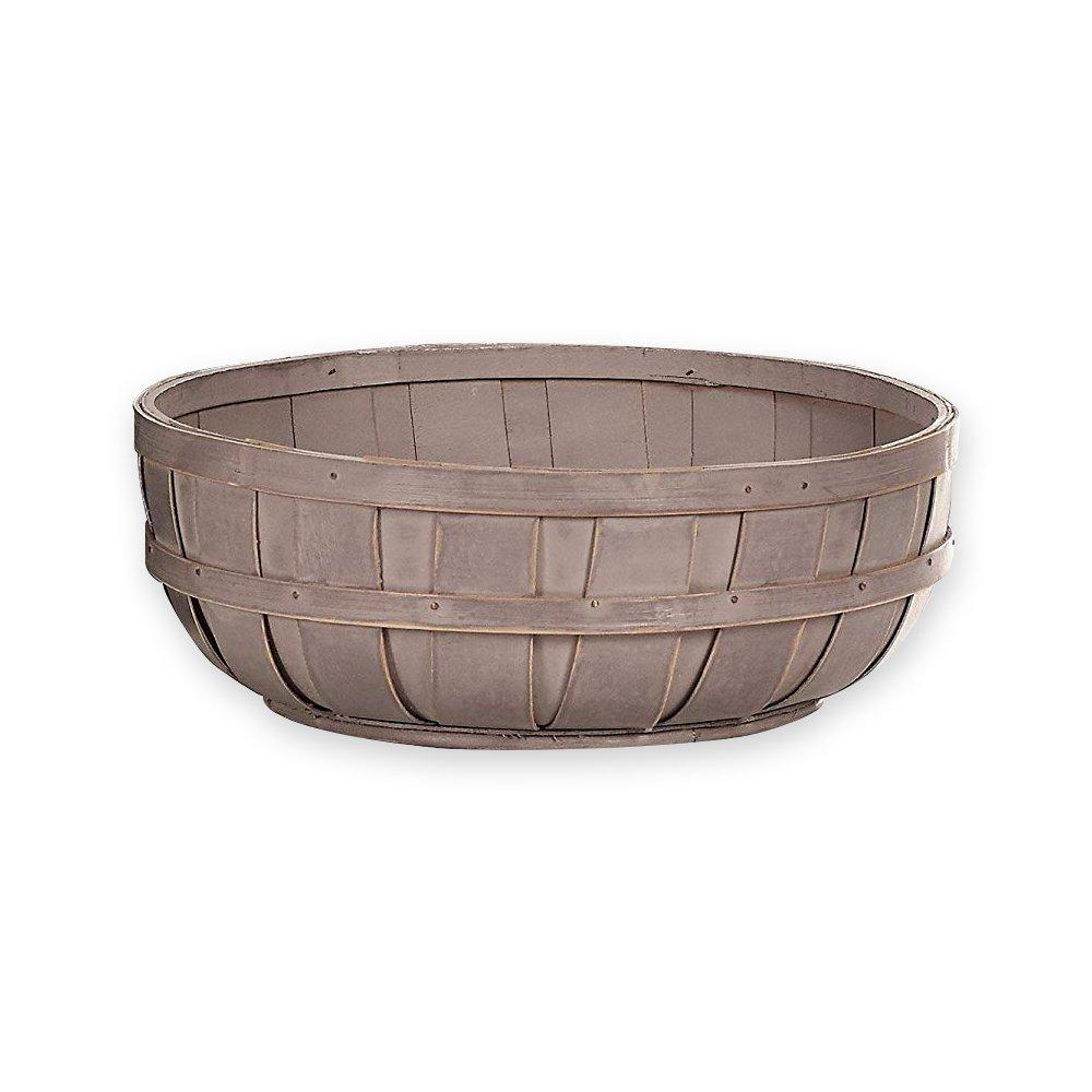 Napco Distressed Lavender Bushel Bowl Design 10 x 3.25 Wood Chip Decorative Basket
