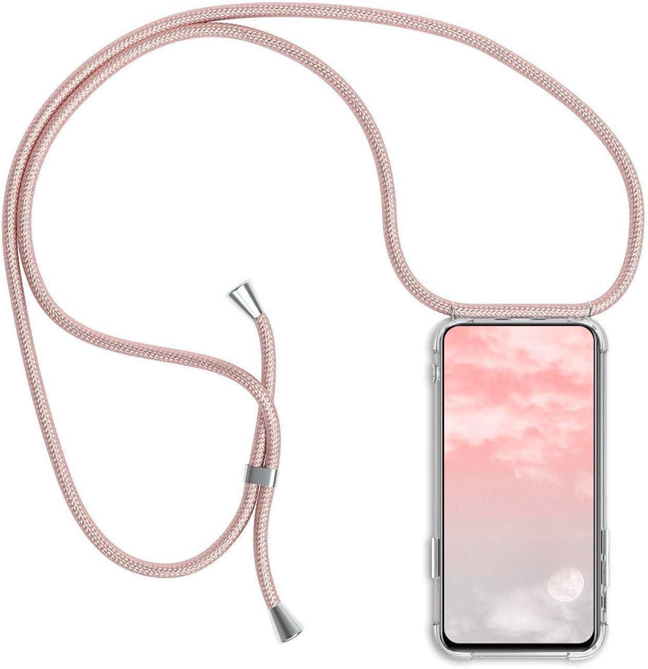 Surakey Silikon H/ülle f/ür Huawei P30 Lite Handykette H/ülle mit Umh/ängeband,Transparent TPU Silikon Handyh/ülle Schutzh/ülle mit Kordel zum Umh/ängen Necklace H/ülle f/ür Huawei P30 Lite,Rose Gold