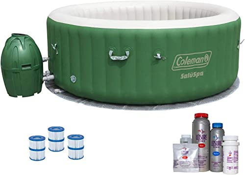 Coleman SaluSpa 6 Person Inflatable Outdoor Spa, Filters, Bromine Starter Kit