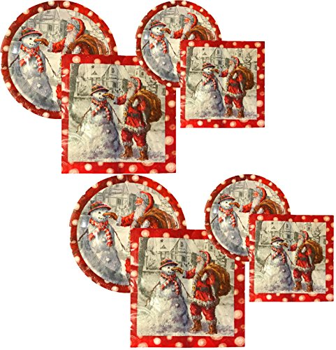 Christmas Holiday Santa Snowman Paper Plates & Napkins (32 Plates & 64 Napkins)