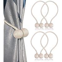 Shellvcase Curtain Tiebacks Magnetic, Drape Tiebacks, 4pc Home Office Decorative Curtain Convenient Magnetic Tiebacks, Window Curtain Tiebacks for Blackout Curtains