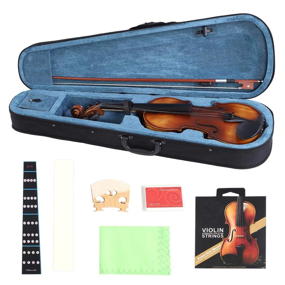 Cocoarm 4/4 Violin Spruce Wood Full Size Handcrafted Vintage Violin Acoustic Starter Kit with Storage Case For Learners Beginners, Rosin, Bridge, Bow, Extra Strings, Fingerboard Sticker Included
