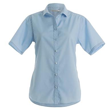 KUSTOM KIT Damen Hemd/Bluse, Bügelfrei, Kurzarm (34 DE) (Hellblau