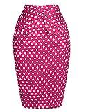 PrettyWorld Vintage Dress Grace Karin Slim Vintage Pencil Skirts For Women, Pink, Small