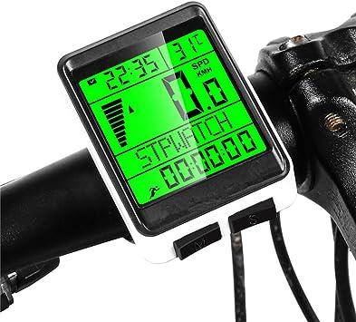 FDGBCF Ordenador de Bicicleta de Ciclismo inalámbrico MTB Bicicleta de Carretera odómetro multifunción cronómetro velocímetro a Prueba de Lluvia Bicicleta Ordenador: Amazon.es: Deportes y aire libre