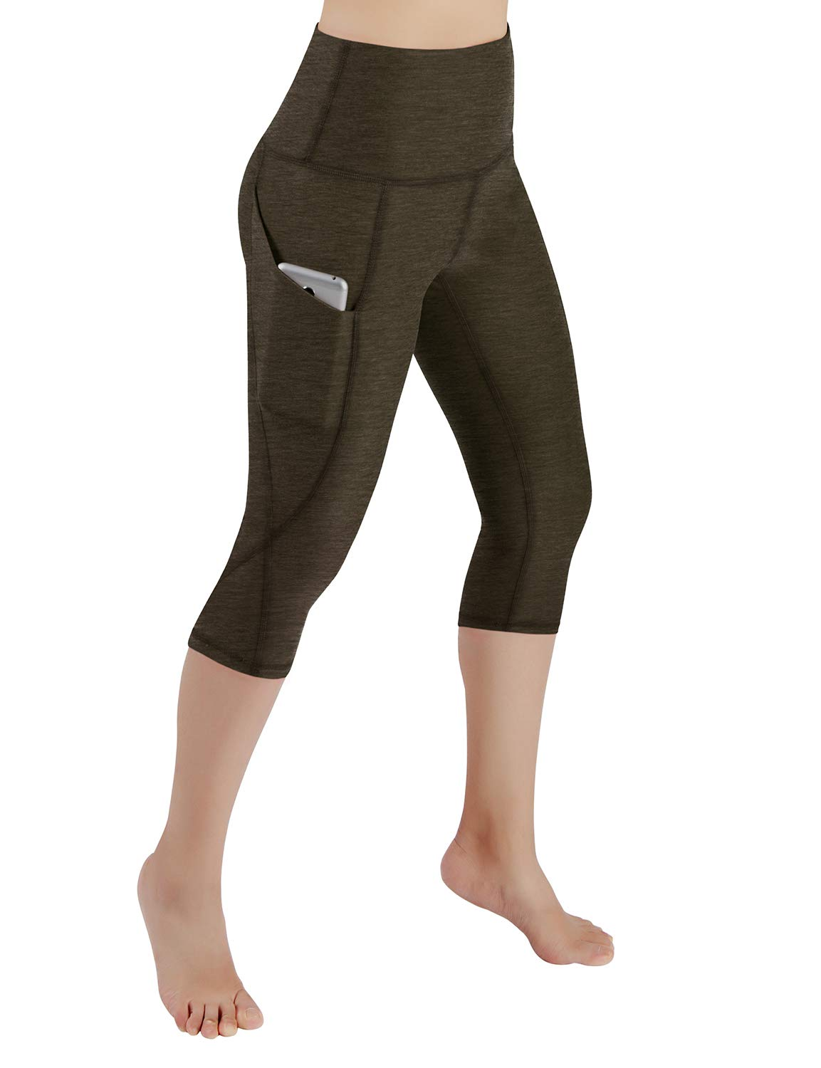 ODODOS High Waist Out Pocket Yoga Capris Pants Tummy Control Workout Running 4 Way Stretch Yoga Leggings,Olive,X-Small