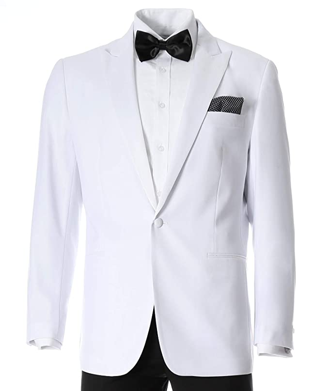 1940s Men's Formalwear Ferrecci Mens Aura White Slim Fit Peak Lapel Tuxedo Dinner Jacket $69.99 AT vintagedancer.com