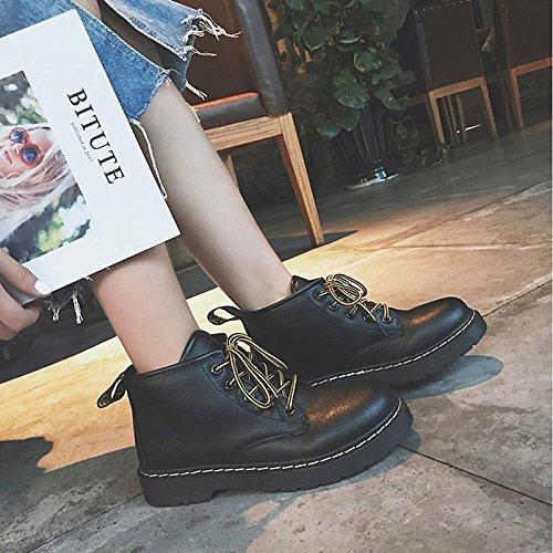 Autunno donna EU39 scarponi pu Stivali Black punta tallone Stivali tonda combattere Casual HSXZ UK6 Inverno Chunky Mid Scarpe Calf nero bianco ZHZNVX per CN39 US8 Comfort EagIqI