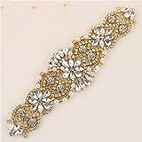 Rhinestones Applique, Crystal Applique with Pearls Beaded Embellishments for DIY Bridal Wedding Sash Belt Bodice Neckline Veil- Rose Gold