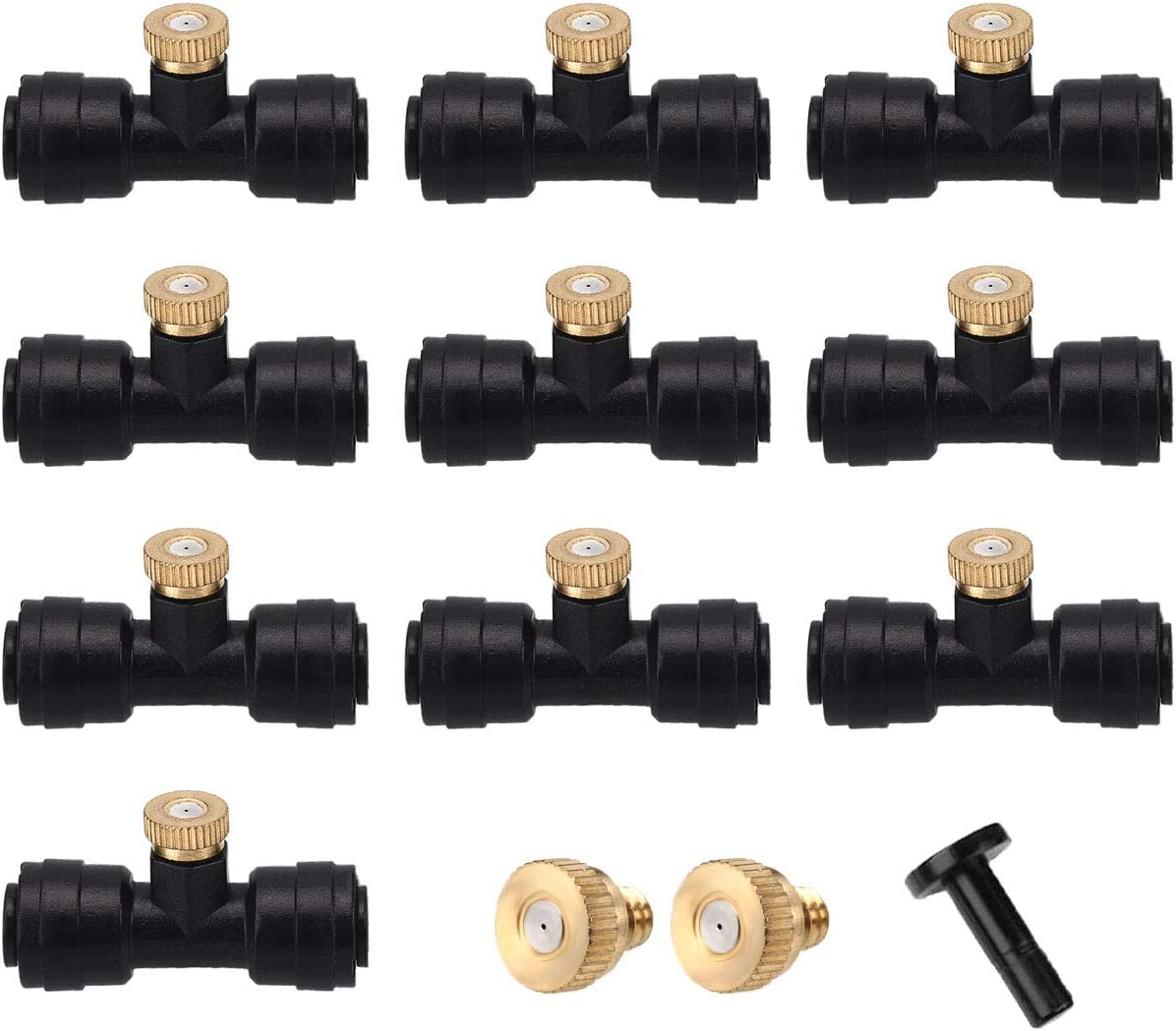 #NA Misting Cooling System, (1/4 Inch) Misting Nozzle Tees and Brass Mist Nozzle Each 10PCS and 1 Plug Outdoor Mister for Patio, Garden, Greenhouse, Lawn,Trampoline for Water Park(Black)