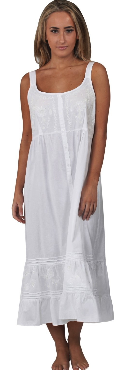 The 1 for U Ruby 100% Cotton Victorian Sleeveless Nightgown  White  Large
