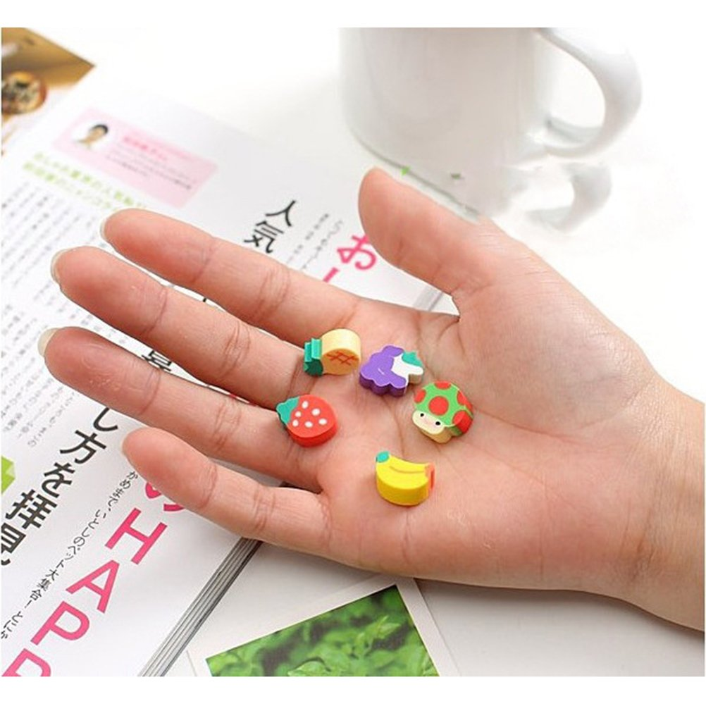 TOYMYTOY Cute Fruit Pencil Erasers Assorted Puzzle Erasers Stationery Gift Toy for Kids Children,100Pcs Random Styles