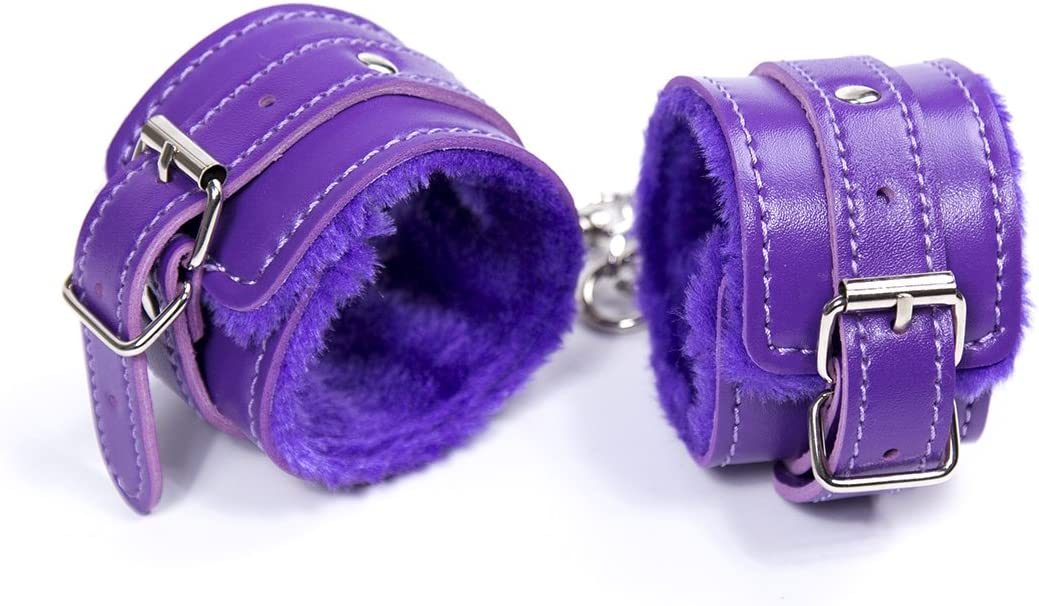 nobrand Handcuffs Purple Row of Staple pins Buckle Plush feet Purple Leather White Thread Tied Hand Clasp