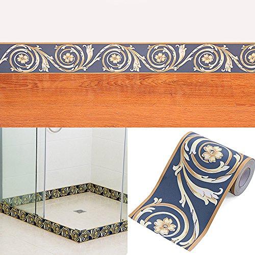 SimpleLife4U Blue Floral Wallpaper Border Self Adhesive Vinyl Wall Covering Borders for Bathroom Dining (Best Friends Wallpaper Border)