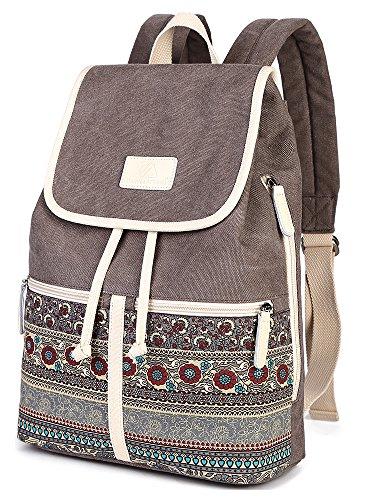 Casual Backpack Purse for Women,Canvas School Backpack Shoulder Bag Large Capacity Rucksack Bookbag fit Womens girls Ladies Travel Daypack by BTOOP (Image #7)