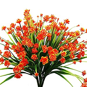 YOSICHY Artificial Fake Flowers, 4 Bundles Outdoor UV Resistant Greenery Shrubs Plants for Outside Hanging Planter Home Kitchen Office Wedding Garden Decor(Orange Red) 1
