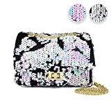CMK Trendy Kids Shiny Toddler Kids Reversible Mermaid Sequin Crossbody Handbags Purse for Girls with Metal Chain Novelty Gifts (80001_Sequin Pink)