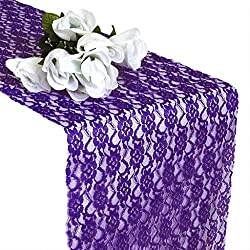 mds Pack of 10 Wedding 12 x 108 inch Lace Table Runner for Wedding Banquet Decor Table Lace Runner- Cadbury Purple