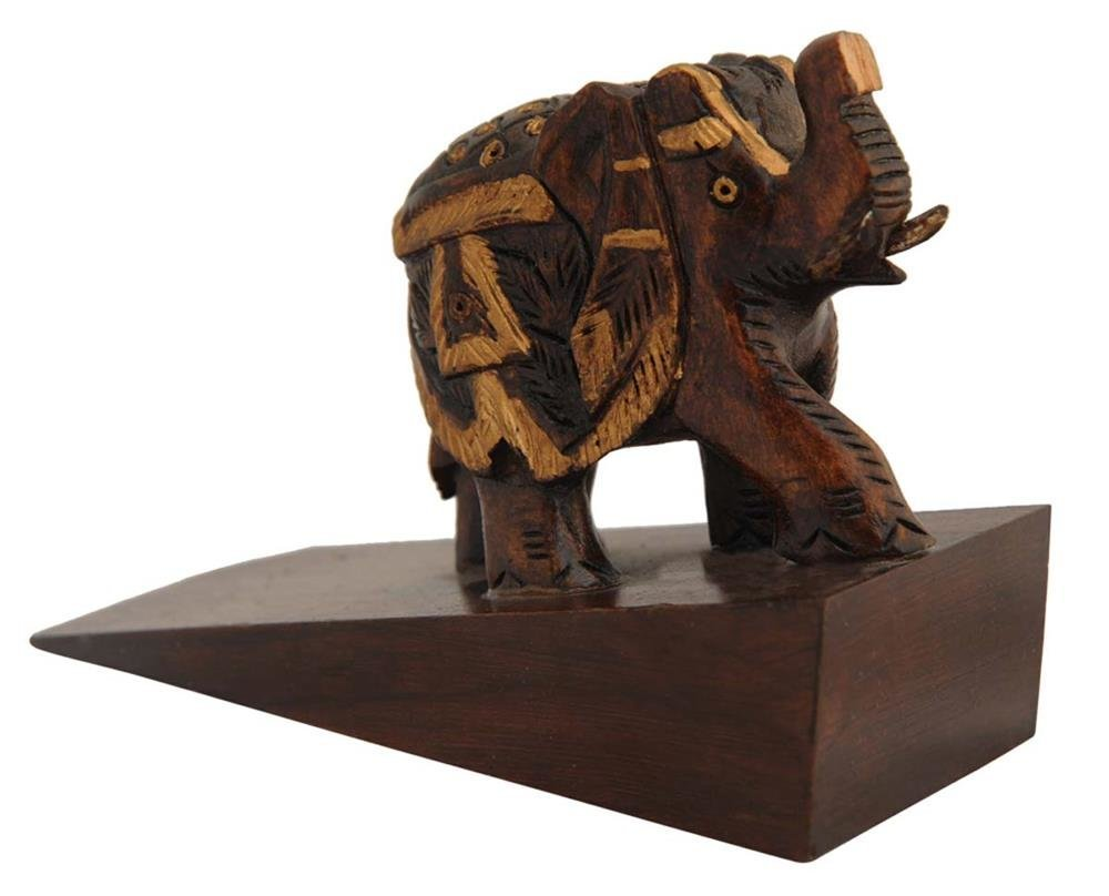 SouvNear Wood Door Stopper 4 Inch - Wooden Elephant Wedge-Style Door Stop - Decorative Trunk Up for Home or Office Use - Brown Color - Door Decorations