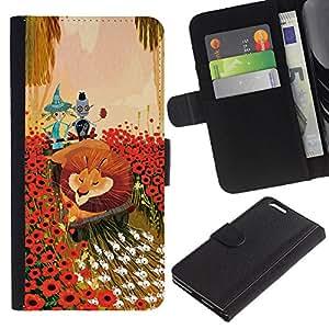 Planetar® Modelo colorido cuero carpeta tirón caso cubierta piel Holster Funda protección Para Apple (5.5 inches!!!) iPhone 6+ Plus ( Lion Flowers Cartoon Fairy Tale Art Friends )