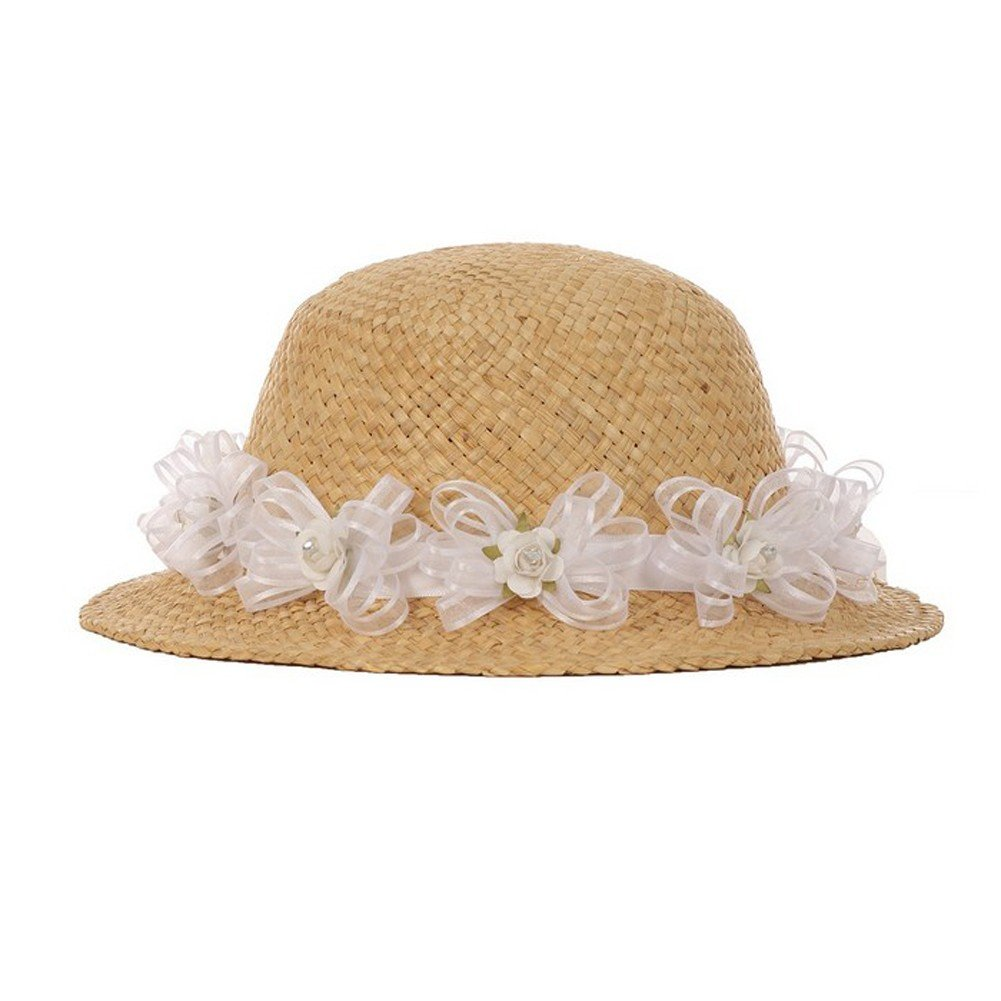 Cinderella Couture Girls Tan White Flower Embellished 19'' Circumference 1.5'' Brim Straw Hat