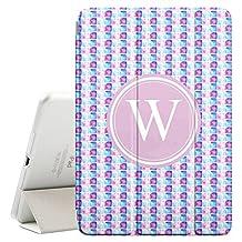 [ W - INITIAL ] [ Apple iPad Mini 4 ][ Name Monogram Folio Case ] with Auto Sleep / Wake Function [ Cool Watercolor Pallet ]