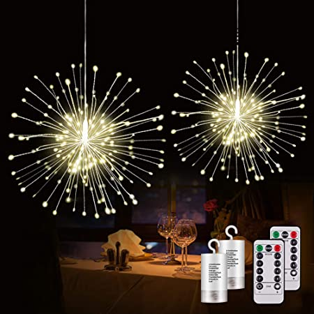 120 LED Firework Copper Wire String Lights USB Xmas Lights Wedding Party 8 Modes
