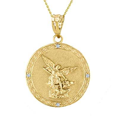 10 ct yellow gold st michael archangel diamond pendant necklace 10 ct yellow gold st michael archangel diamond pendant necklace 114quot comes aloadofball Image collections