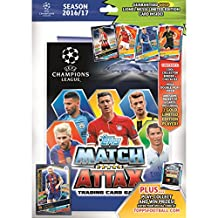 2016/2017 Topps Match Attax Champions League Soccer Starter Kit with Hard Back Collectors Binder Album/Play Pitch/Game Guide/ 6 Card Pack & Gold Limited Messi