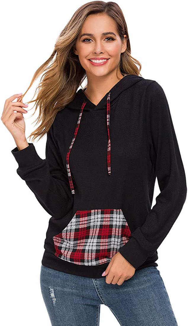 Womens Casual Plaid Pullover Hoodies Lightweight Long Sleeve Drawstring Sweatshirts with Pocket