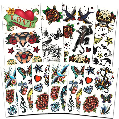 American Traditional Temporary Tattoos Set Kids Adults -- Over 250 Bold Classic Tattoos (Party Supplies)