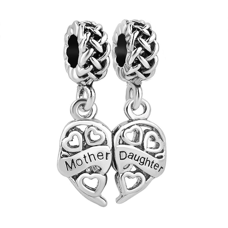 ThirdTimeCharm Dangle Heart Mother Daughter Charm Beads For European Charm Bracelets