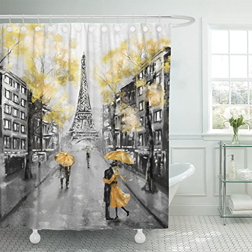 Emvency Shower Curtain Oil Painting Paris European City Landscape France Eiffel Tower Black White and Yellow Modern Couple Under Waterproof Polyester Fabric 72 x 72 inches Set with Hooks