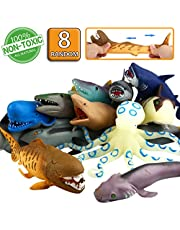 """ValeforToy Ocean Sea Animal, 8"""" Rubber Bath Toy Set(8 Pack Random), Food Grade Material TPR Super Stretches, Some Kinds Can Change Colour, Floating Bathtub Toy Party Shark Octopus Figure"""