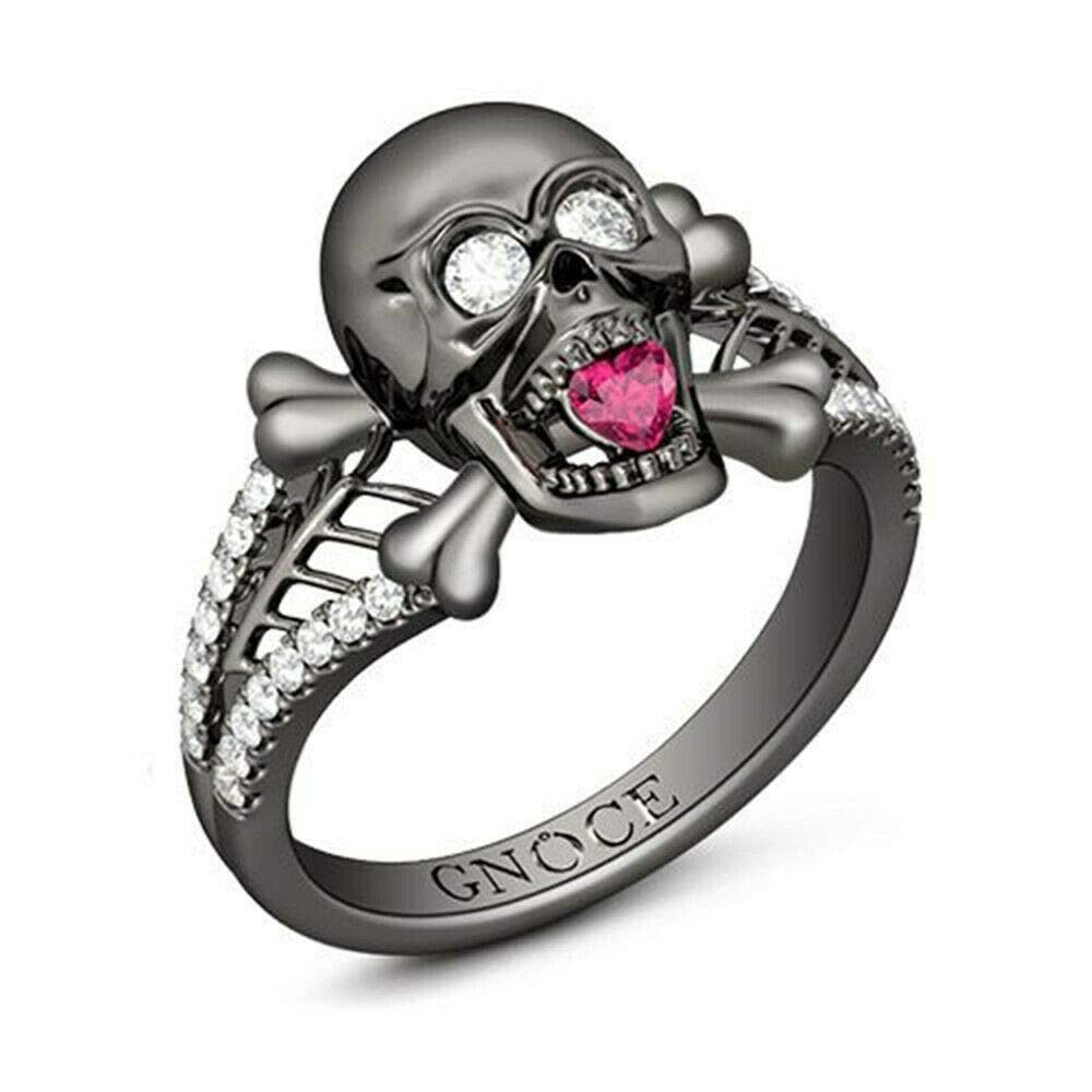 Madame Jewelry Hot Women Jewelry White Topaz Heart Ruby Skull Ring Halloween Party 10