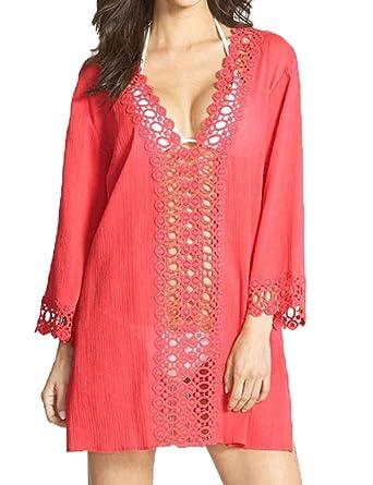 59168e503c10d Qearal Women s Bathing Suit Cover Up Crochet Swimwear Lace Bikini Swimsuit  Dress (Red