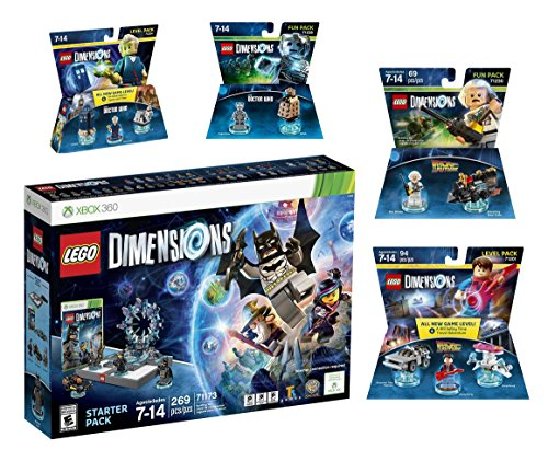 Lego Dimensions Time Traveler Starter Pack + Doctor Who Level Pack + Cyberman Fun Pack + Back To The Future Marty McFly Level Pack + Doc Brown Fun Pack for Xbox 360 Console by WB Lego
