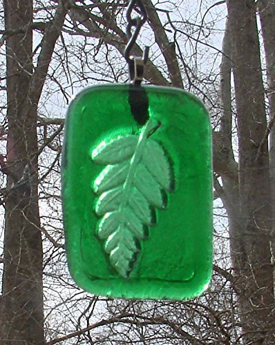Green Fern Frond Leaf Tile Handmade Up-cycled Bottle Sun Catcher Ornament