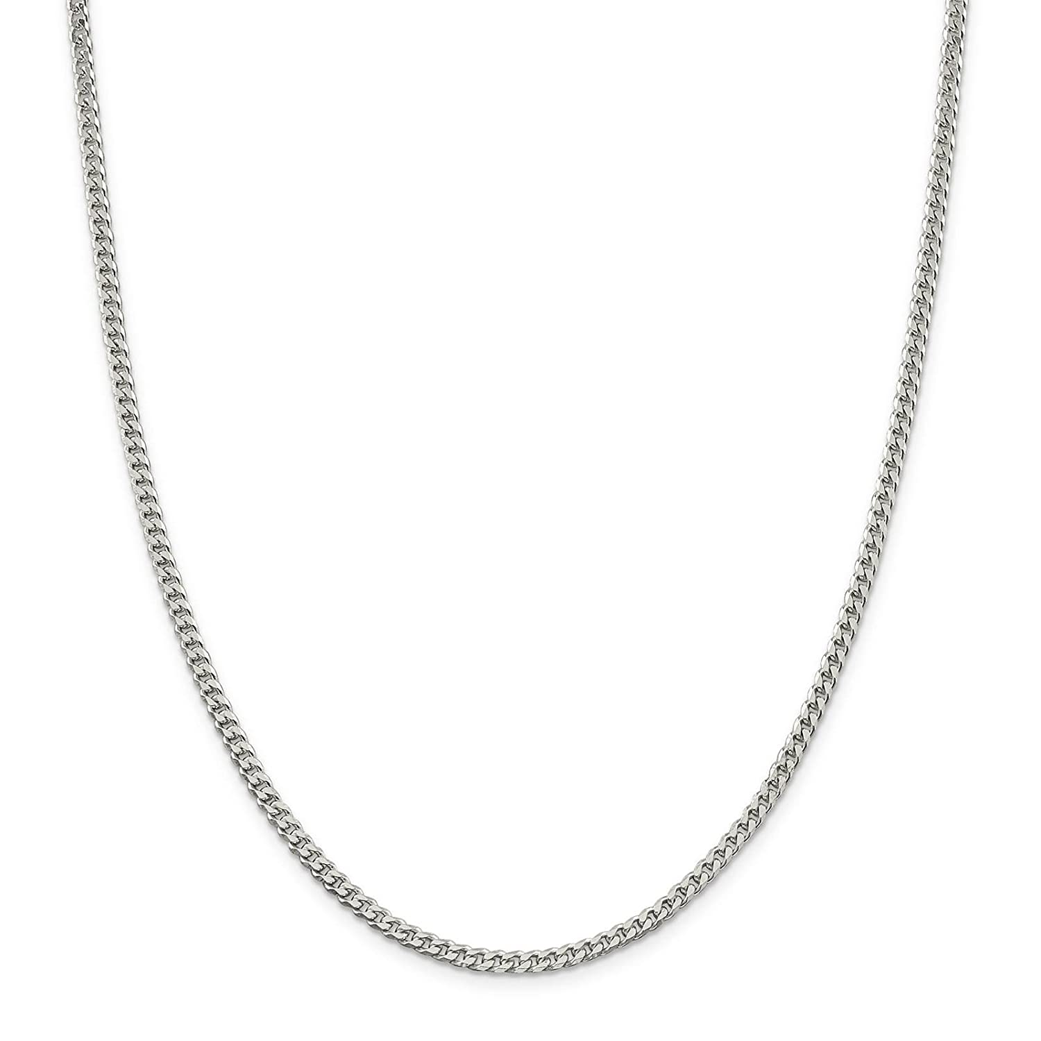 925 Sterling Silver Polished 3.1mm Curb Link Chain Necklace 7-24