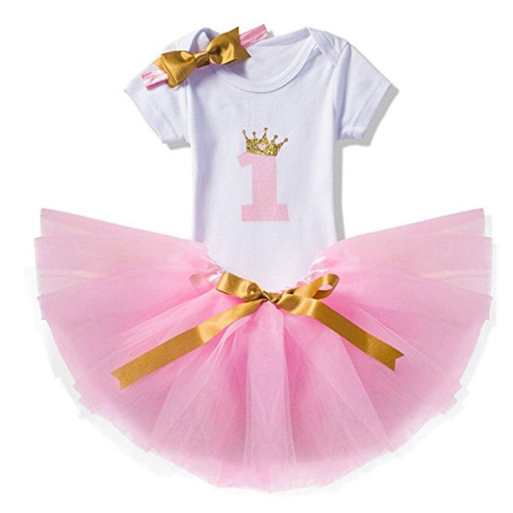 Geburtstag Kleidung M/ädchen 3 St/ück Tutu-Kleid Outfits T-Shirt Strampler Stirnband//1Jahr Baby 1 Rock Tutu