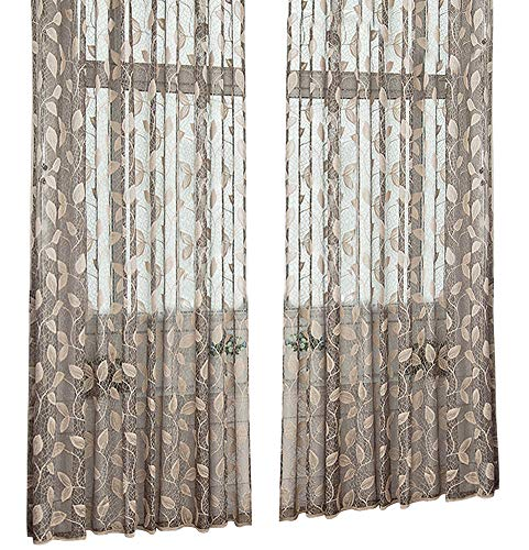 Aside Bside Floral Pattern Wrap Knitting Jacquard Sheer Curtains Rod Pockets Semi Transparent Panels Treatments for Living Room Dining Room and Kids Room (1 Panel, W50 x L95 inch, Grey)