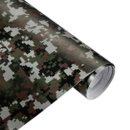 QEUhang 2 PCS Camouflage Autofolie Sticker Tarnfolie 152 X 30CM Selbstklebend Car Wrapping Auto Folie (Woodland Digital Camou