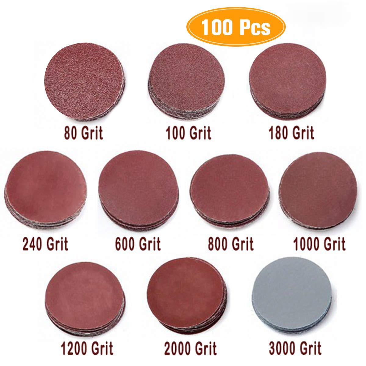 100pcs 2 Inch 50mm Sander Disc 80-3000 Grit Sanding Polishing Pad Sandpaper Tool