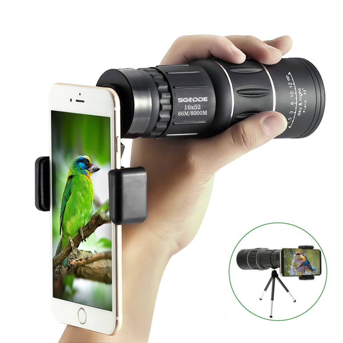 16x52 Dual Focus Monocular Telescope,SGODDE Waterproof Spotting Scopes ,HD Wide View, BAK4 Prism Scope with Hand Strap,Tripod , Universal Cell Phone Adapters for Wildlife Viewing Camping Travelling by SGODDE