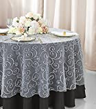 Wedding Linens Inc. 90' Round Embroidered Organza Sheer Table Overlays Toppers Organza Tablecloths Table Covers Linens for Wedding Party Banquet Events - White