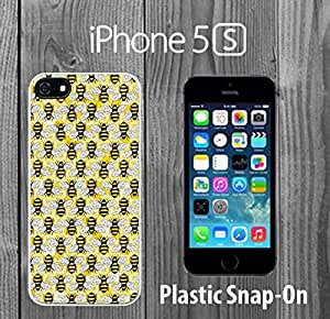 Cute Bees Pattern Honeycomb Custom made Case/Cover/skin FOR iPhone 5/5s -White- Plastic Snap On Case ( Ship From CA)