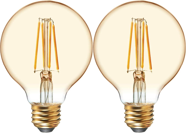 GE Lighting 42173 Amber Glass Light Bulb Dimmable LED Vintage Style G25 Decorative Globe 4.5 (40-Watt Replacement), 280-Lumen Medium Base, 2-Pack, 2